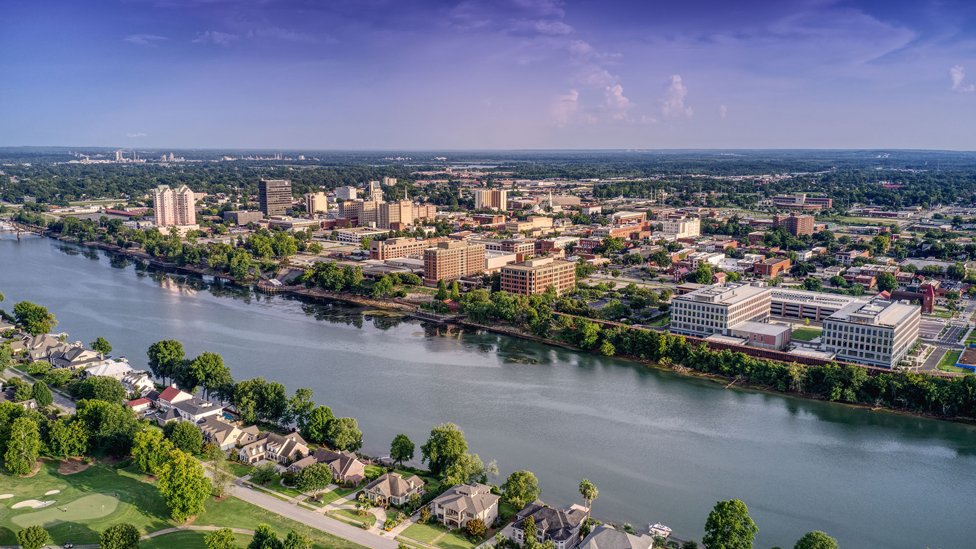 Downtown Augusta and river. Photo courtesy Augusta Convention & Visitors Bureau