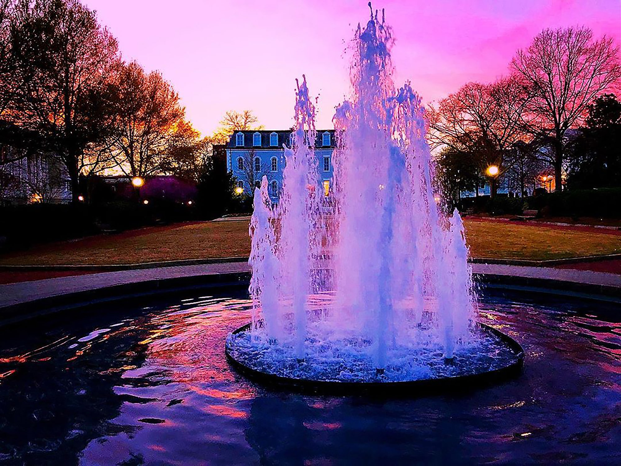 Herty Field at UGA in Athens at sunset. Photo by @amandahomeskilly