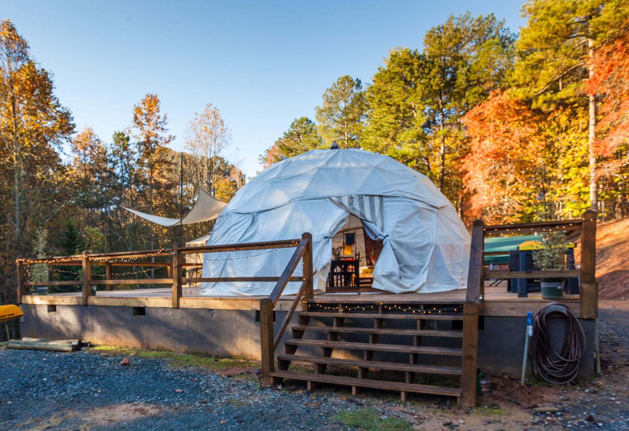 Sleep in a geodesic dome tent at Elatse'Yi in Ellijay, Georgia