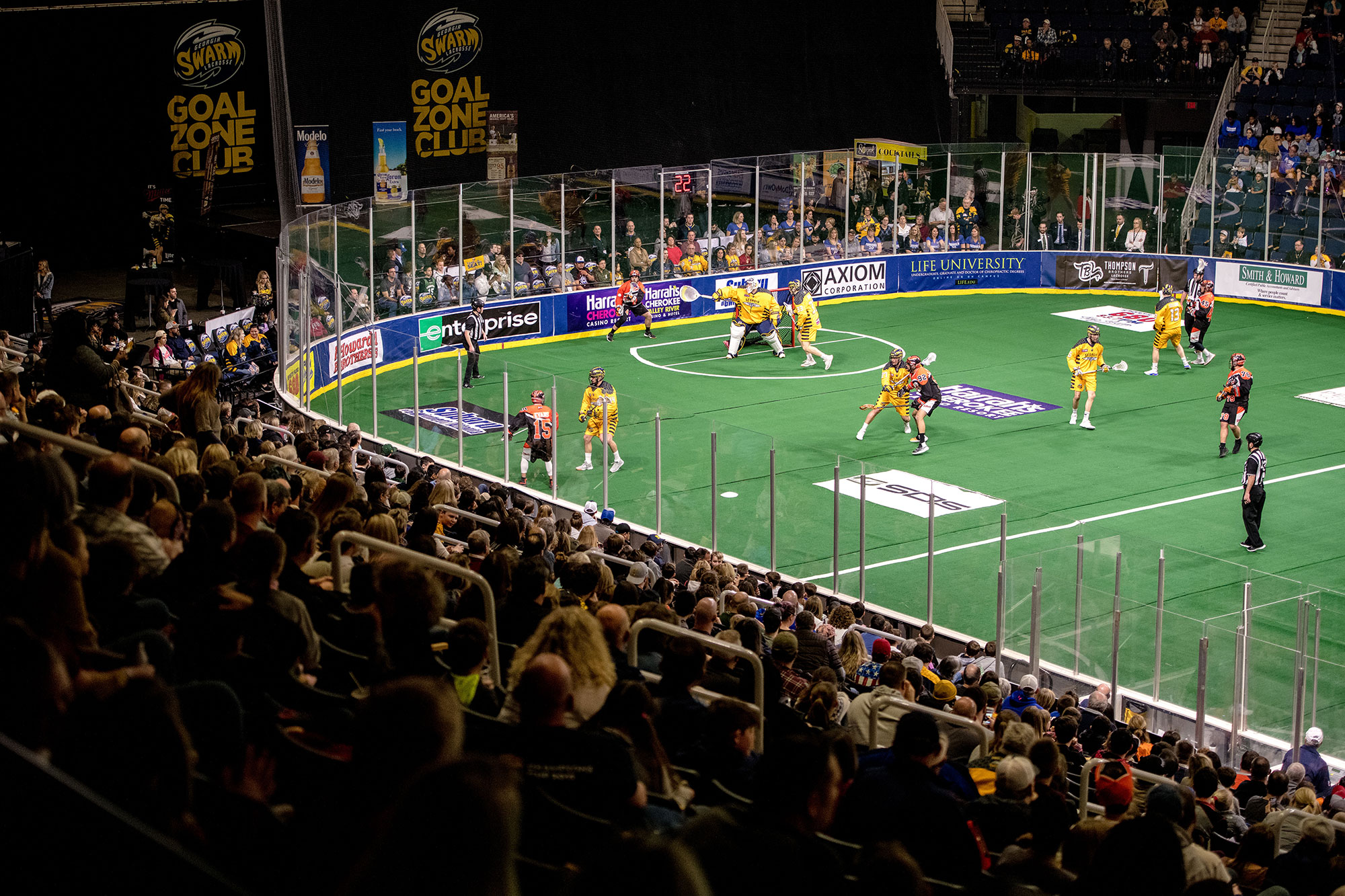 Georgia Swarm lacrosse team playing at Gwinnett's Infinite Energy Arena in Duluth