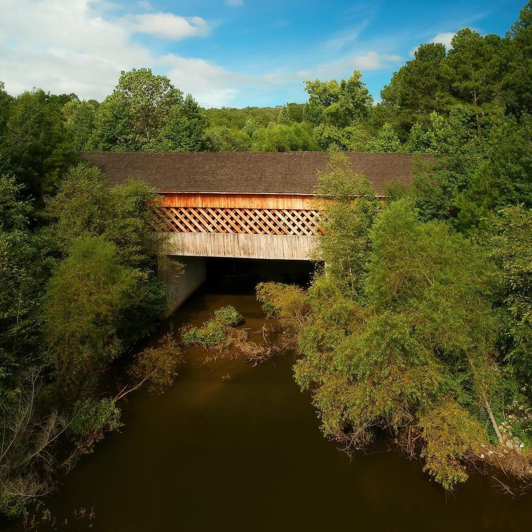 Haralson Mill Covered Bridge in Conyers, Georgia. Photo by @friedom
