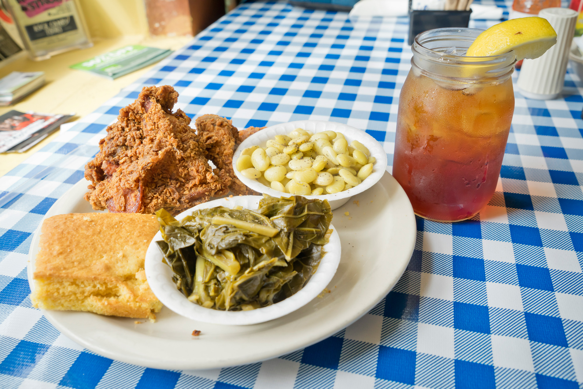 Fried chicken, side dishes and iced tea at H&H Restaurant in Macon, Georgia