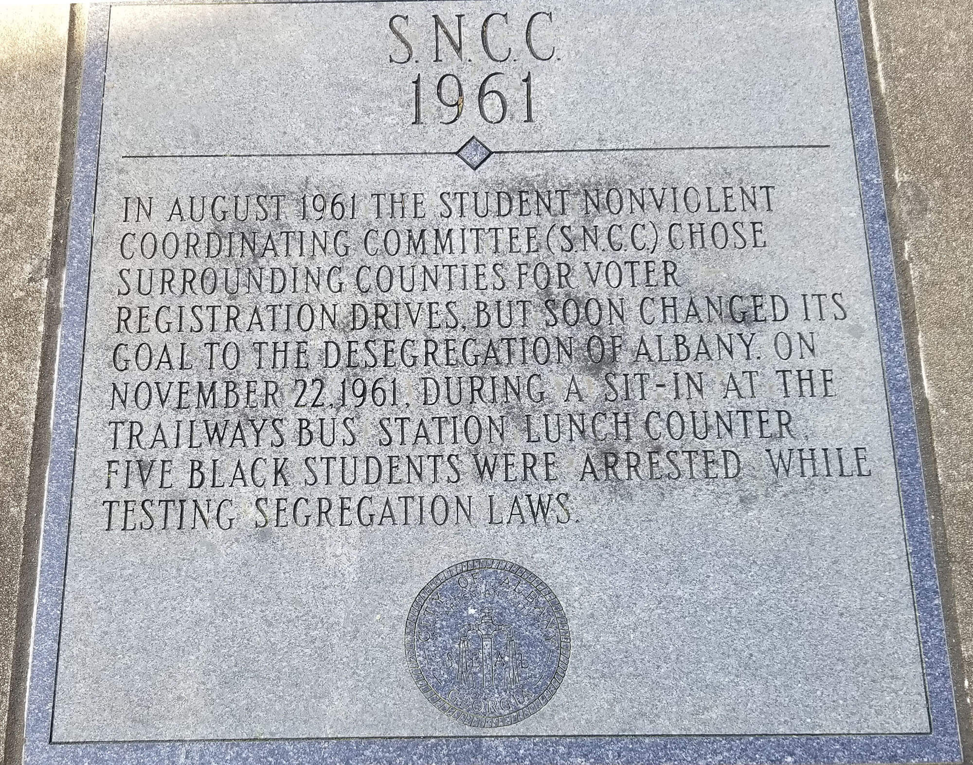 SNCC marker outside Old Mt. Zion Baptist Church in Albany. Photo by Kalin Thomas