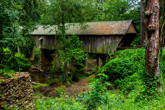 Concord Bridge in Cobb County is also known as Nickajack Creek Covered Bridge. - Concord Covered Bridge in Cobb County, Georgia - Photo by Barbara Gaddis via Flickr