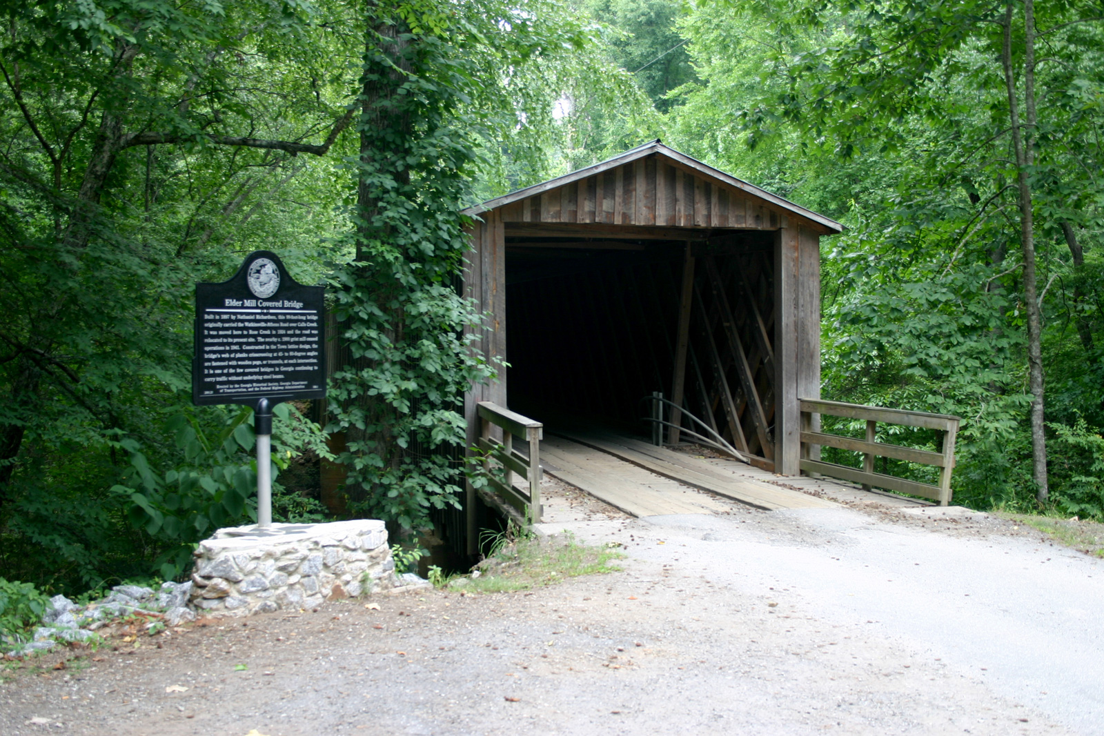 Built in 1897, Elder Mill Covered Bridge in Watkinsville is one of only 13 functional covered bridges left in Georgia.