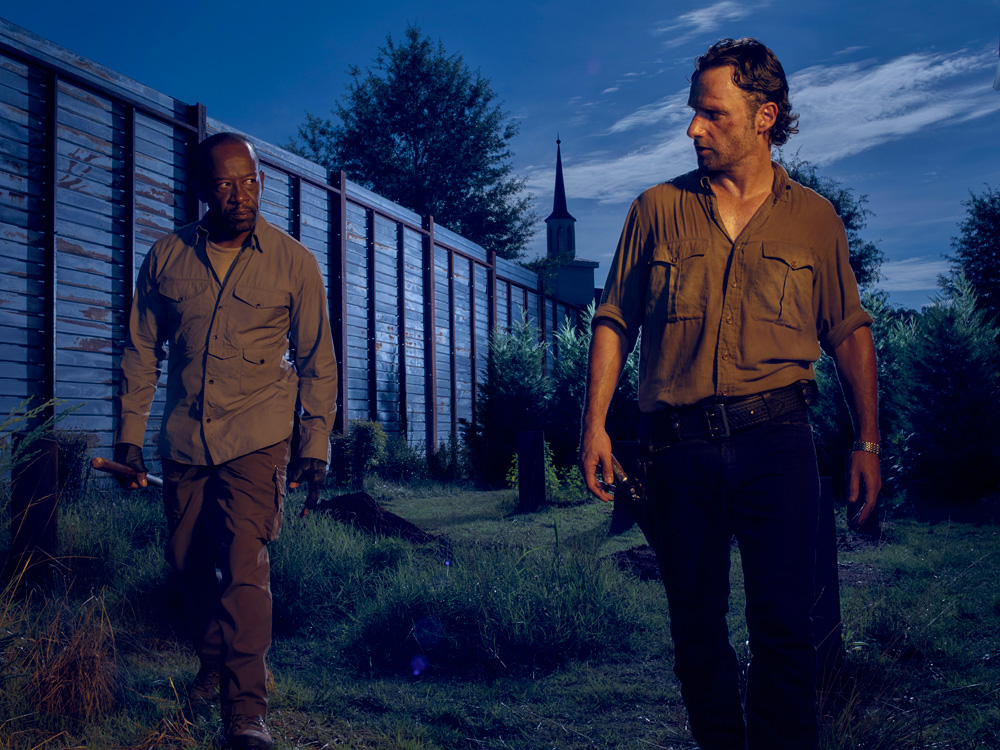 Lennie James as Morgan and Andrew Lincoln as Rick Grimes in The Walking Dead, Season 6. Photo Credit: Frank Ockenfels 3/AMC