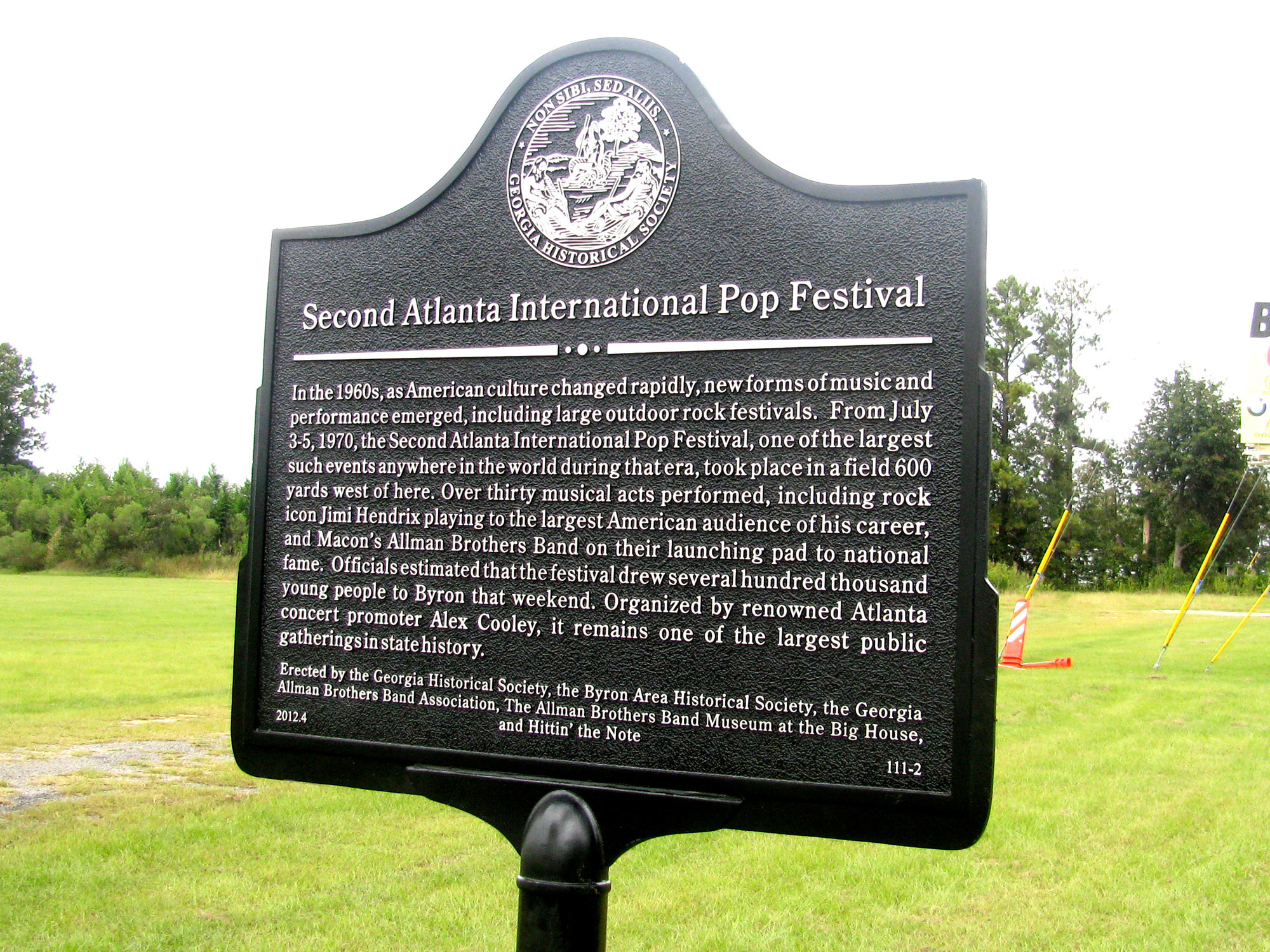 Allman Brothers Band historical marker in Byron, Georgia