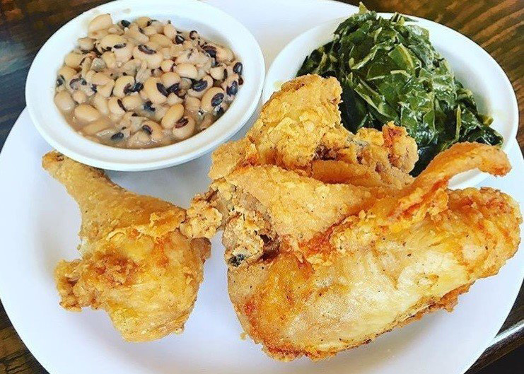 Fried chicken, black-eyed peas and collard greens from Busy Bee Cafe in Atlanta