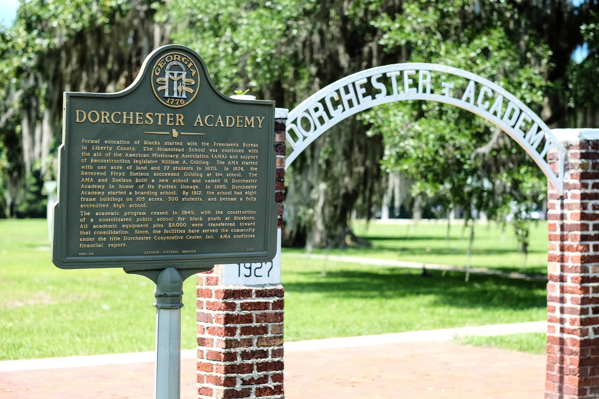 The historic marker at Dorchester Academy in Midway, Georgia