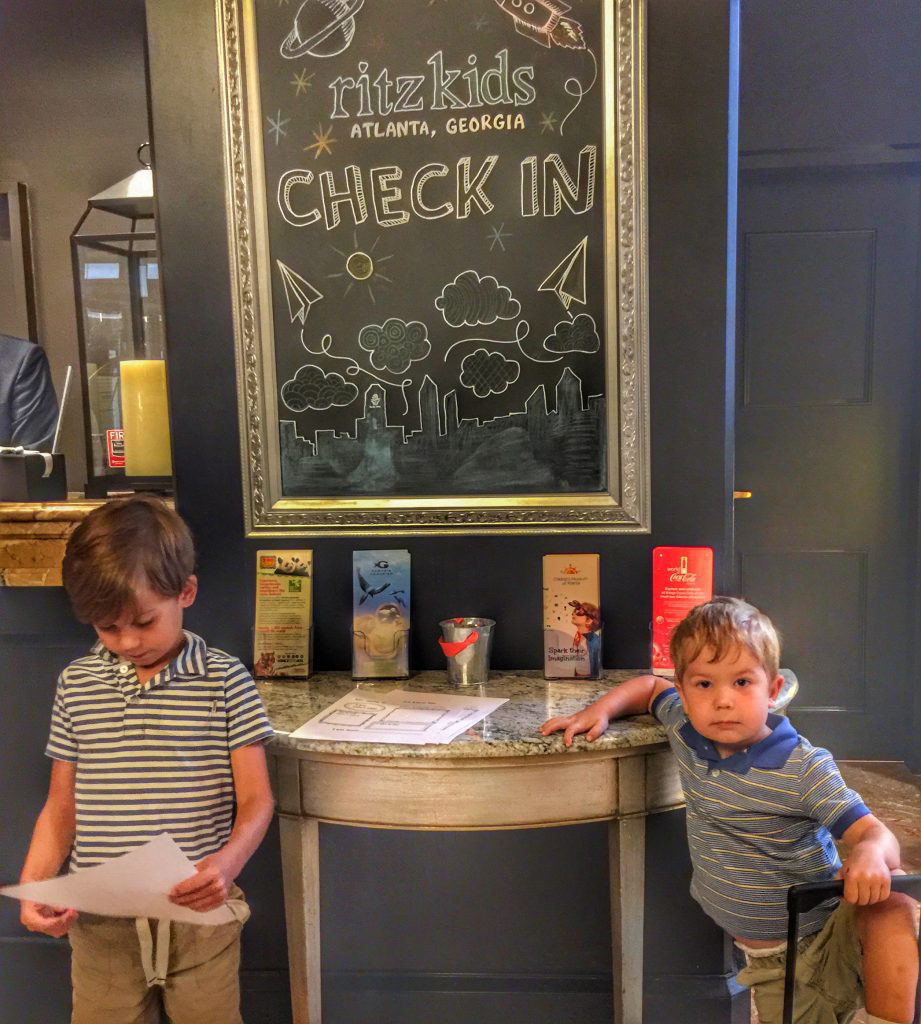 Ritz-Carlton kids check in area in Atlanta. Photo by Lesli Peterson