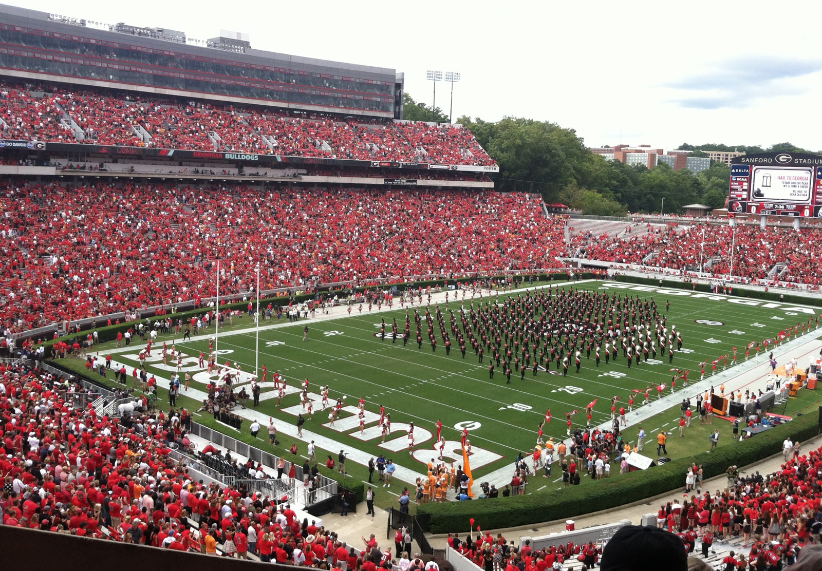 The UGA Redcoat Band performs at halftime.