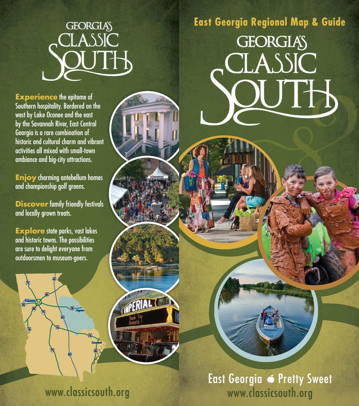 Map Of East Georgia.Georgia S Classic South East Georgia Regional Map Guide Official