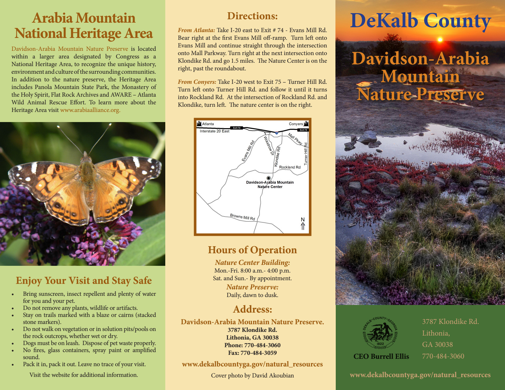 Davidson Arabia Mountain Nature Preserve Brochure