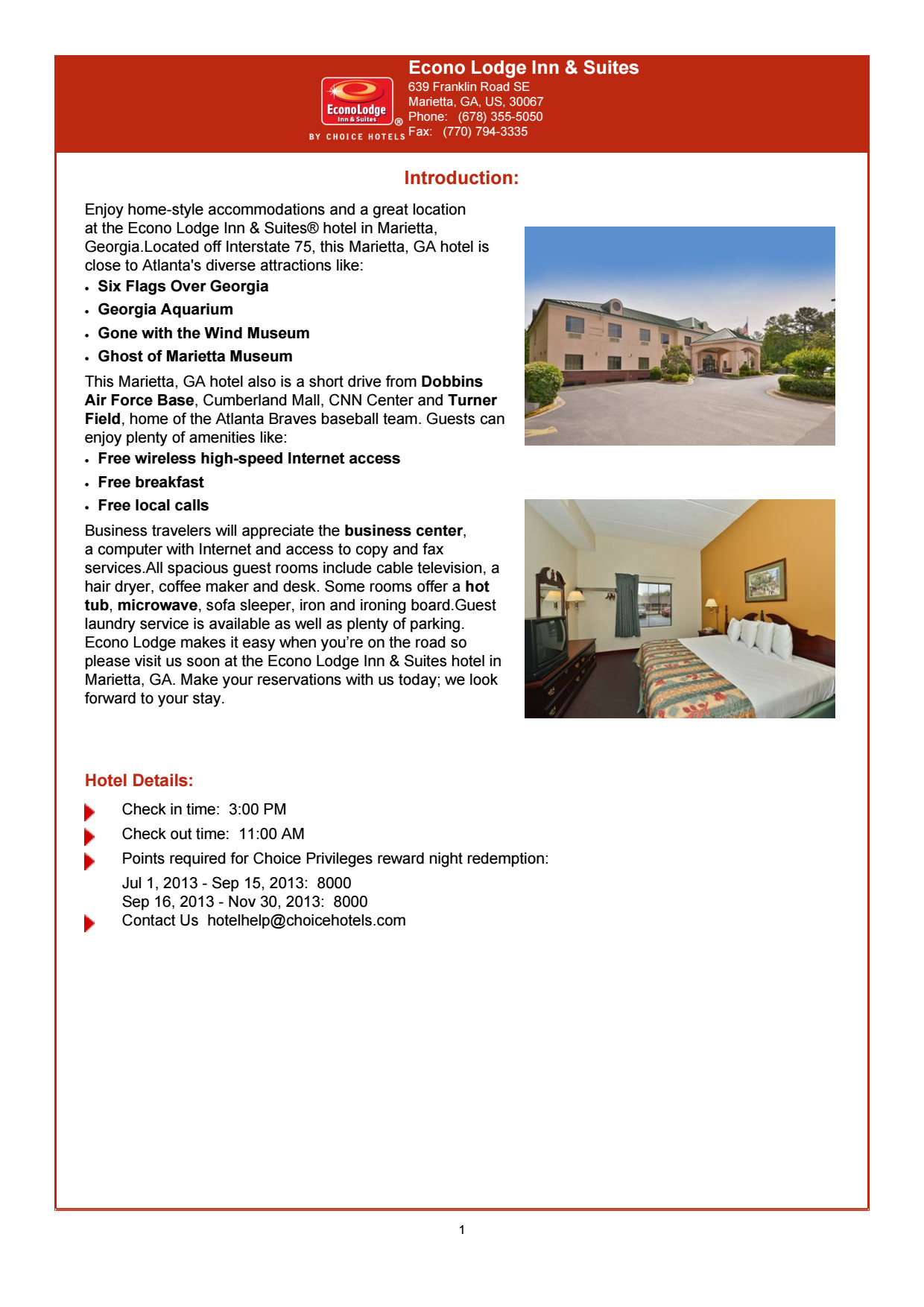 Econo Lodge Inn & Suites Brochure