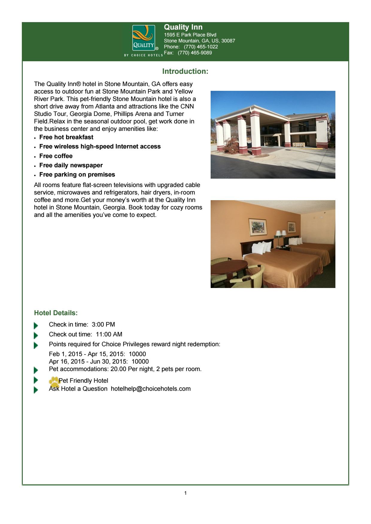 Quality Inn, Stone Mountain: Hotel Brochure