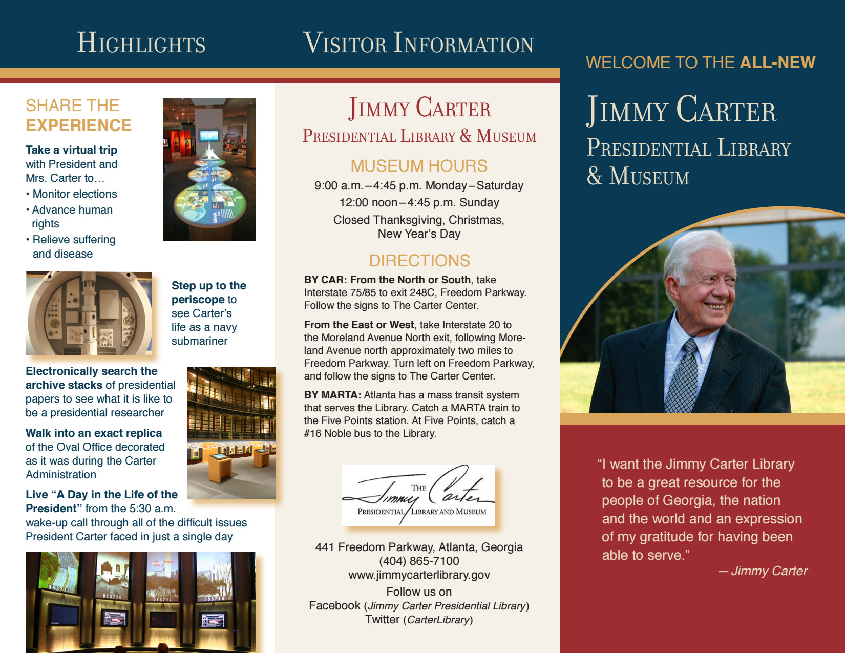 Jimmy Carter Presidential Library & Museum Brochure ...