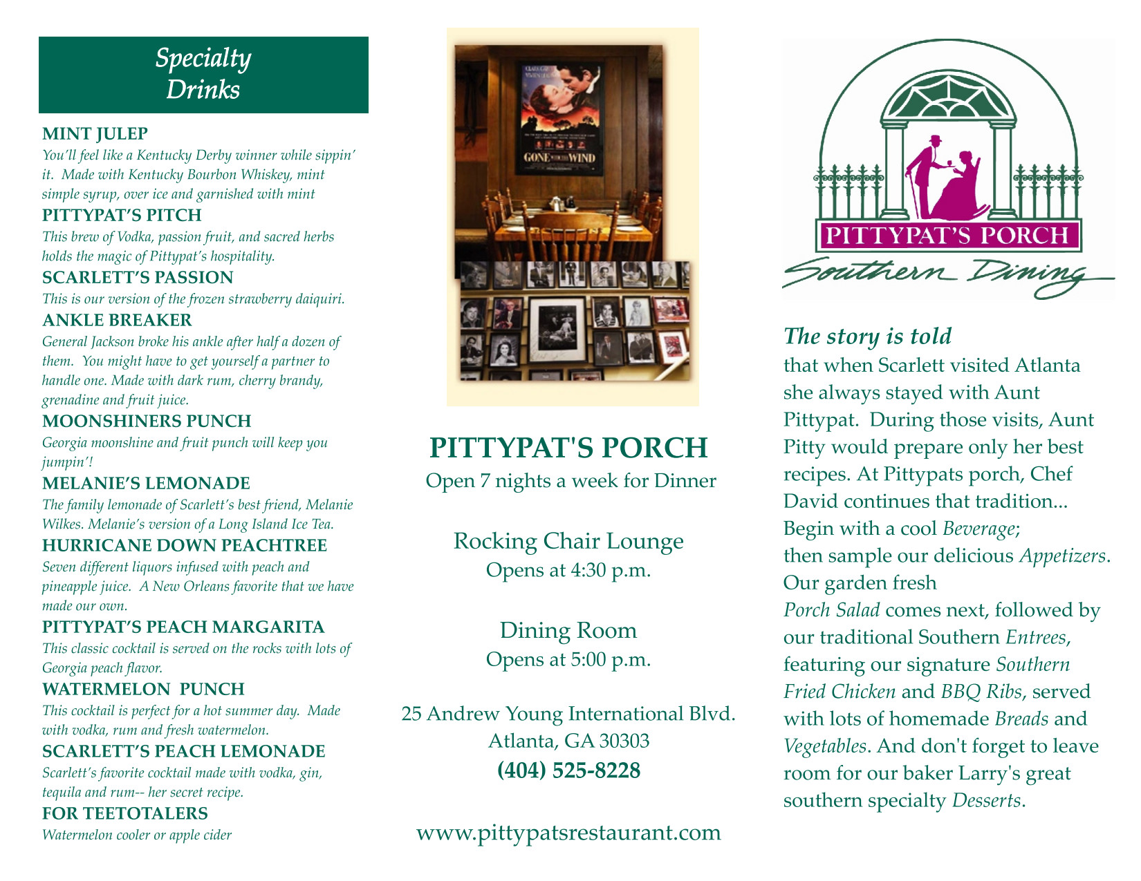 Pittypat's Porch Brochure