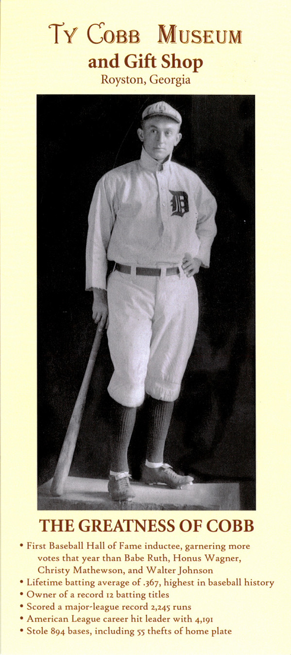 Ty Cobb Museum Rack Card