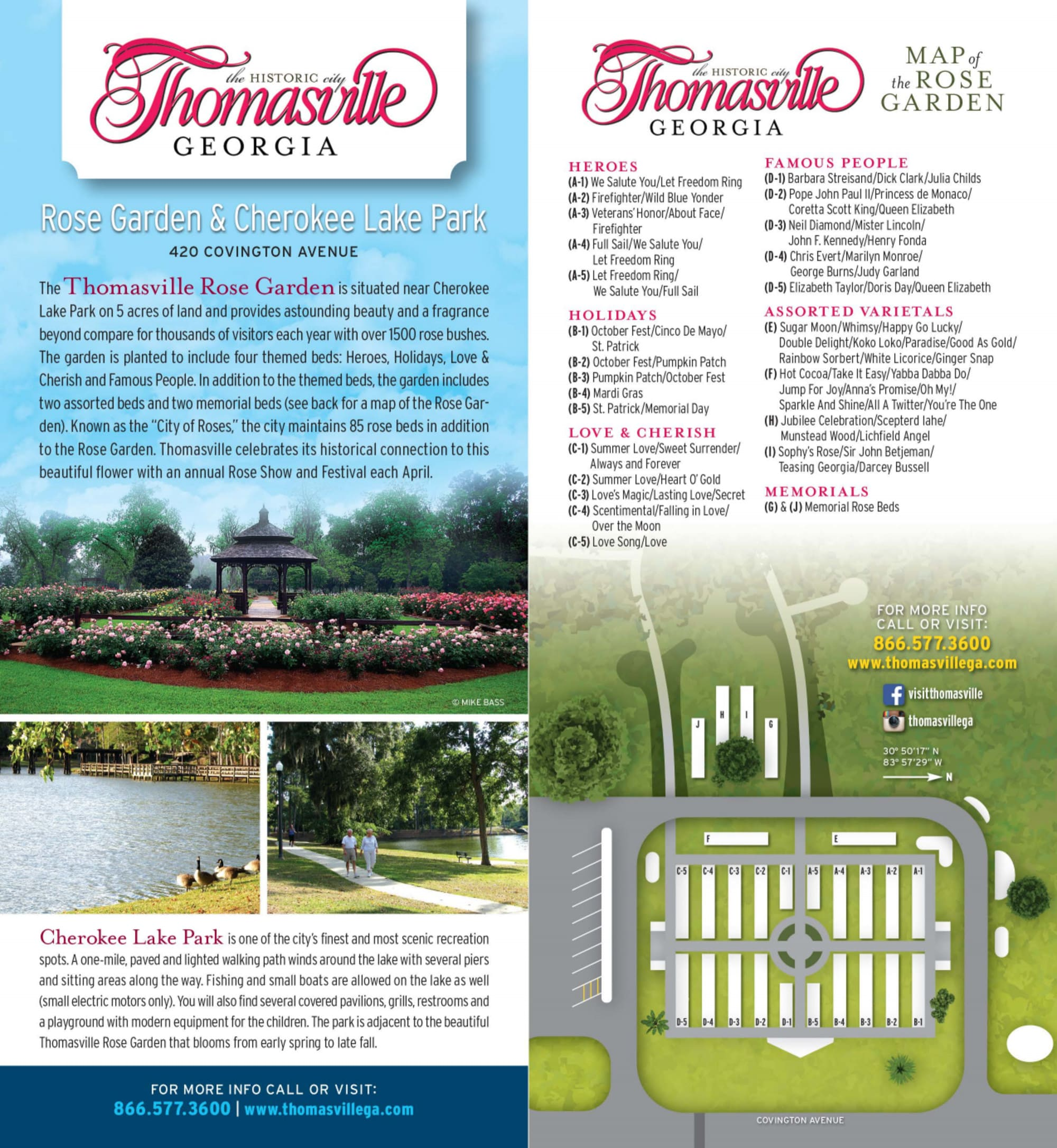 Thomasville Rose Garden and Cherokee Lake Park brochure