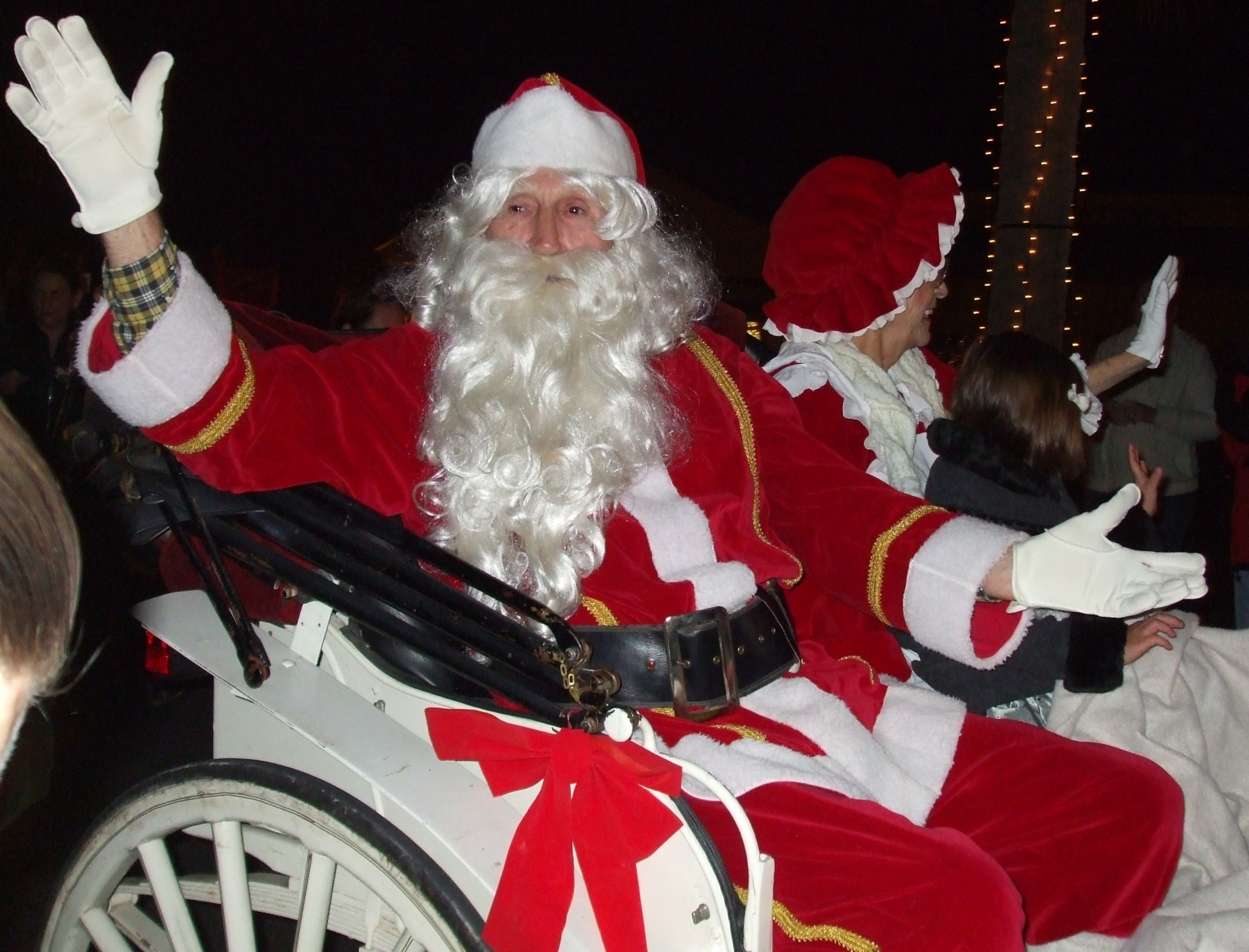 Santa and Mrs. Claus in St. Marys White Lighting Ceremony