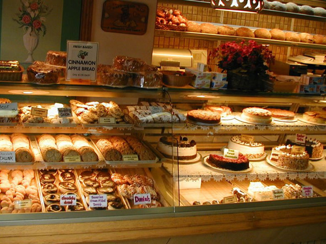 The bakery case at Hofer's of Helen