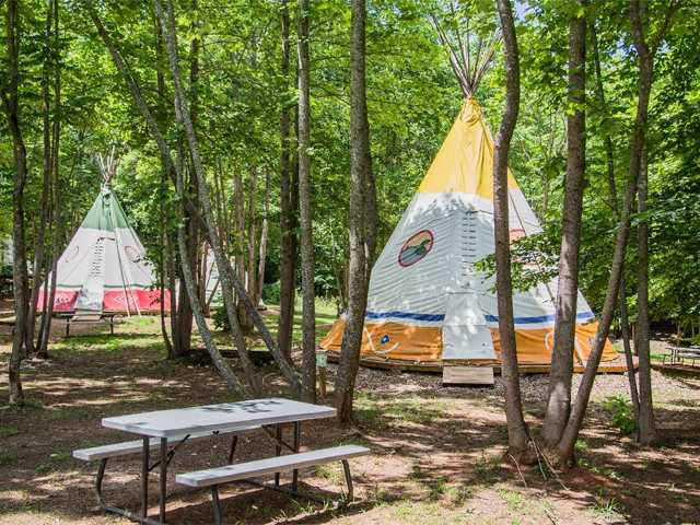 Teepee Camping at North Georgia Canopy Tours in Lula, Georgia