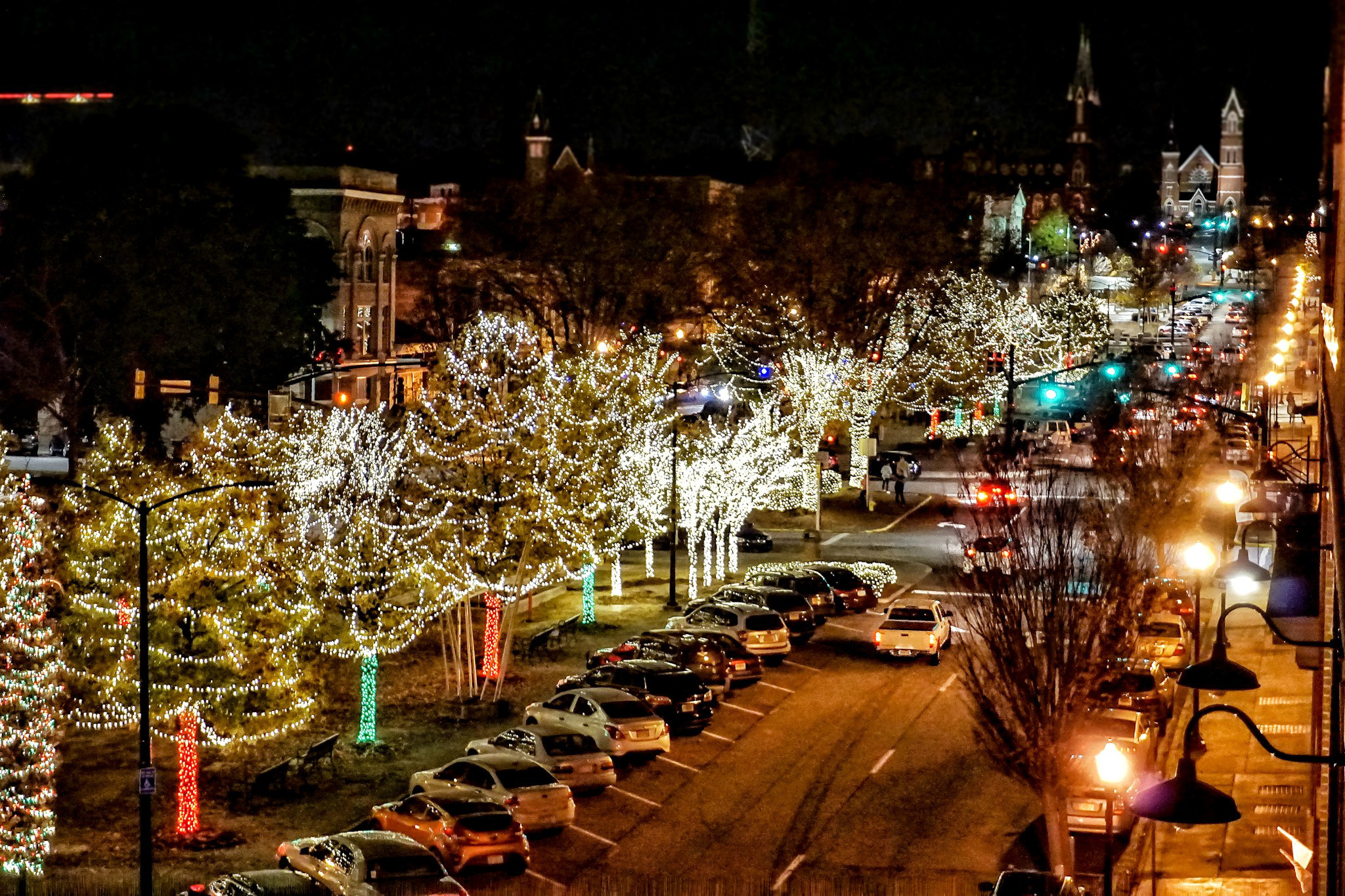Downtown Macon decorated for the holidays