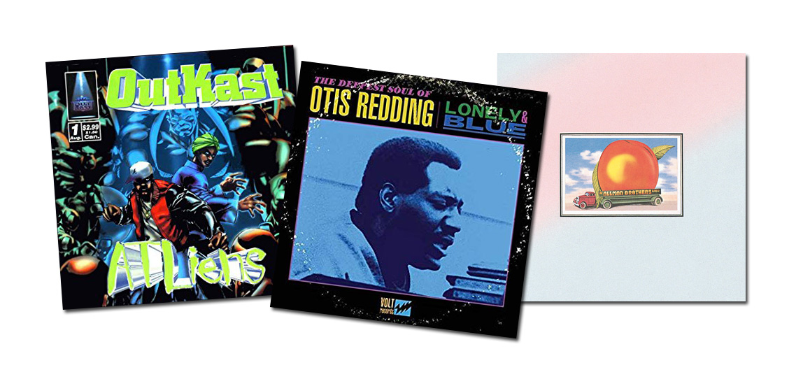 Album covers from Outkast, Otis Redding and The Allman Brothers