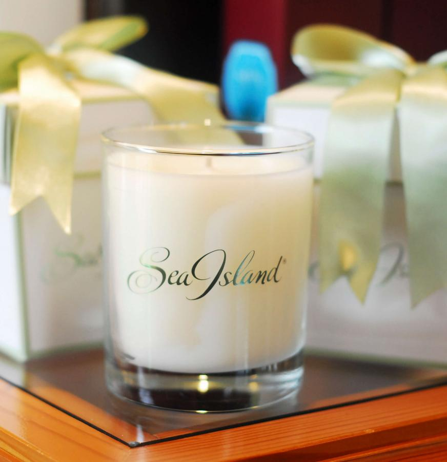 Candle from the spa at Sea Island