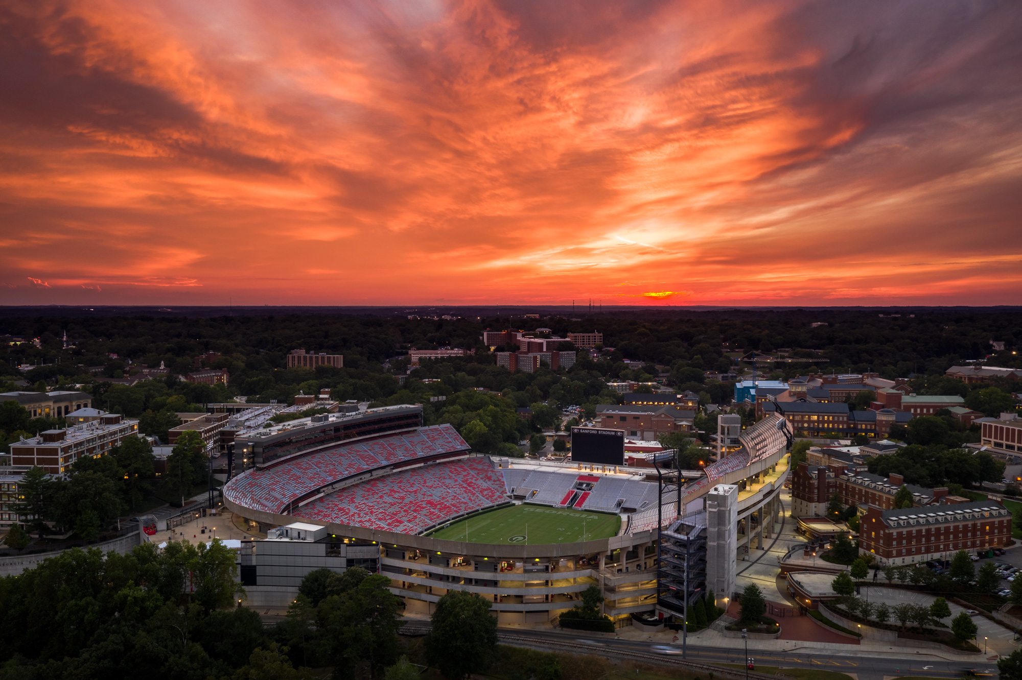 Sunset over Sanford Stadium in Athens, Georgia. Photo by Chris Greer