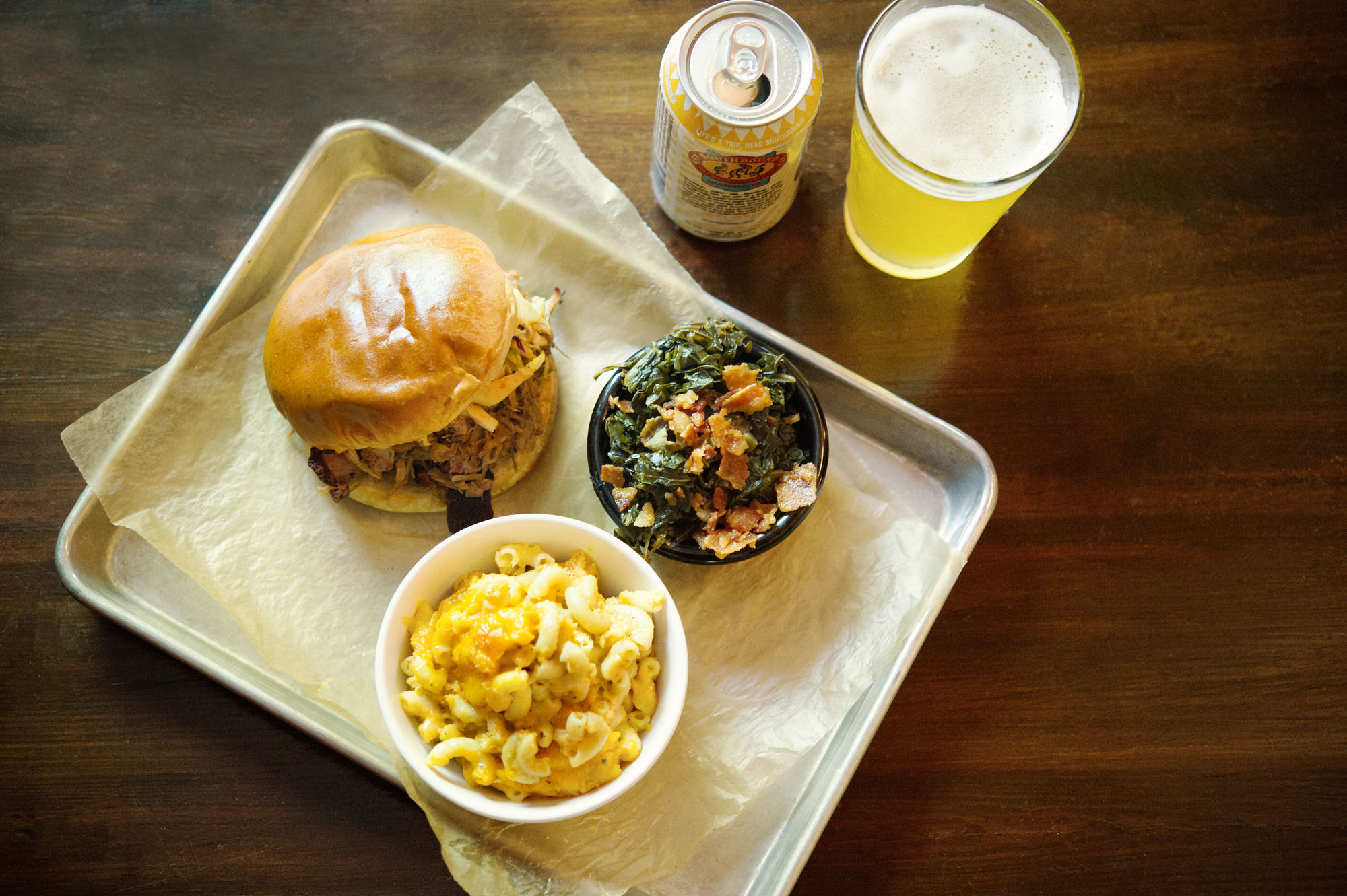 Barbecue, macaroni and cheese, collard greens and beer at Southbound Smokehouse in Augusta, Georgia