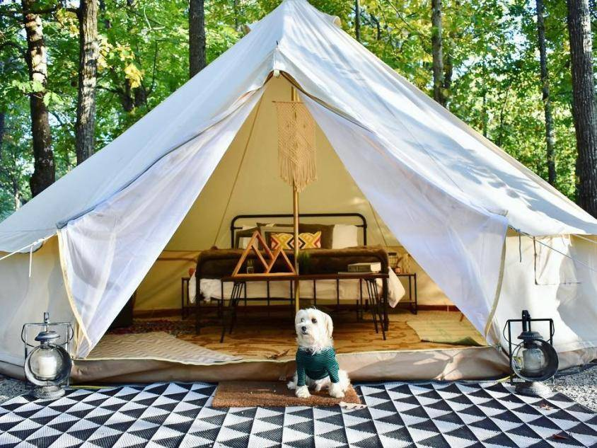 Georgia Glamping at Shady Grove Campground on Lake Lanier. Photo credit Teddy The Morkie, @teddy.takesthecity