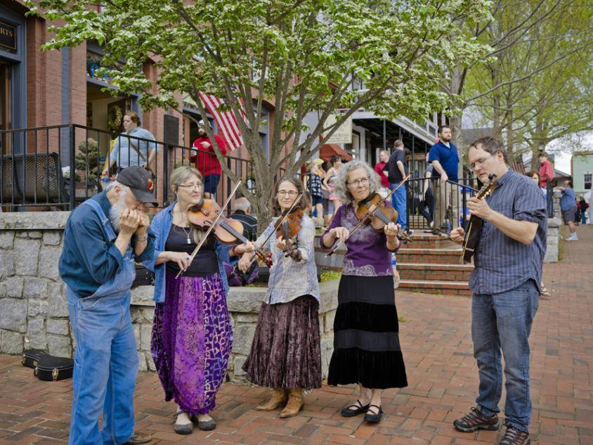 Musicians play during Bear on the Square in Dahlonega, Georgia