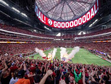 Atlanta United soccer in Mercedes-Benz Stadium