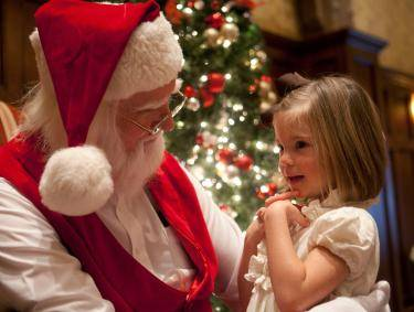 Santa and young girl