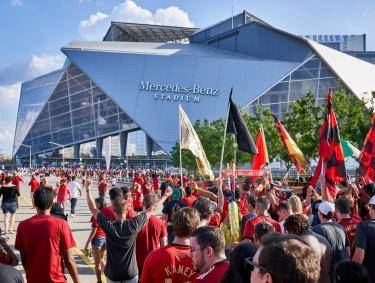Atlanta United fans outside Mercedes-Benz Stadium