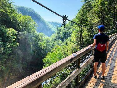 Hiking the bridge at Tallulah Gorge. Photo by Mike Clark