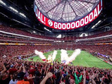 Atlanta United game at Mercedes-Benz Stadium in Atlanta. Photo by Ben Galland