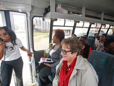 Deanna Brown Thomas leads the James Brown Family Historical Tour in Augusta, Georgia