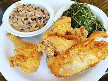 Fried chicken, black-eyed peas and collard greens at Busy Bee Cafe in Atlanta