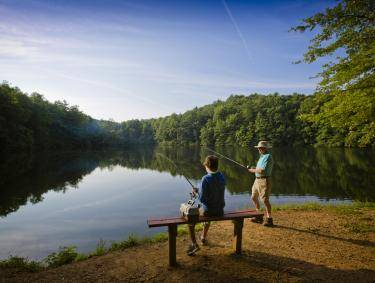 Fishing at Fort Mountain State Park in Chatsworth, Georgia