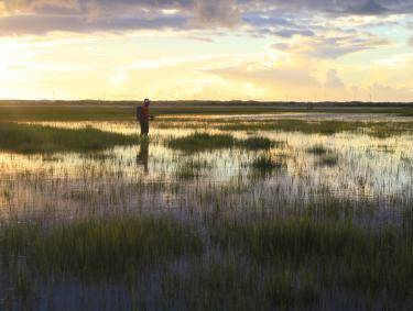 Clint McNeal fishing in the Georgia salt marsh at sunset