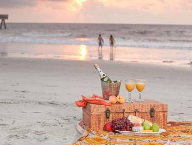 Picnic on the beach on Tybee Island, Georgia
