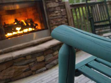 Outdoor fireplace at Lodge
