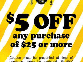 Spanky's $5 off any purchase of $25 or more