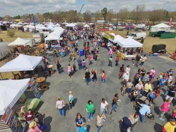 aerial view of the 2-day annual Conyers Cherry Blossom Festival, Conyers Georgia