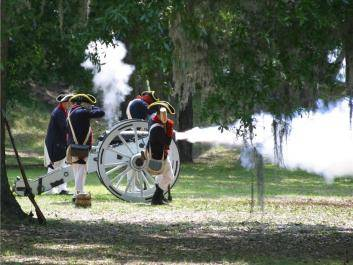Cannon demonstration at Fort Morris State Historic Site