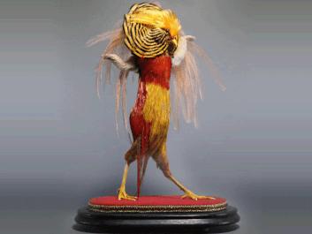 """""""Past"""", Enrique Gomez de Molina, 19""""h x 12""""w x 6""""d, golden pheasant, emu feathers, rabbit fur, 2017"""