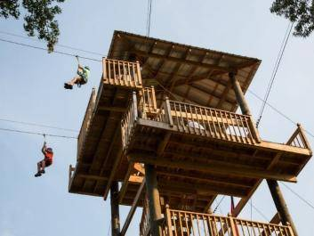 Cow-A-Bunga Zip Line Tower at The Rock Ranch