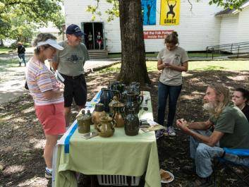 Folk and art potters are located all across the Sautee Nacoochee Center campus at the Folk Pottery & Art Festival.
